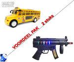Schoolbus met Disco Led Lichtjes en Muziek + Future Gun speelgoed met lichtjes,tril functie | Incl. Batterij