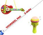 Tape Mic Speelgoed microfoon met diverse instrumenten + Cartoon speelgoed gitaar Orgel | Incl. Batterij