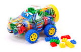 Auto box met speelgoed Bouwblokjes_