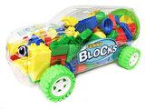 Bouwblokjes in een Gave Auto Box - 98 stuks Bouwsteentjes - Fast Game (35cm)_