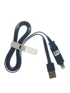 Micro USB & Lighting USB 2in1 kabel  Universeel oplader -zwart
