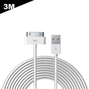 3 Meter - iPhone 4 / 4S kabel - USB Oplaadkabel en Datakabel 30-Pin -wit
