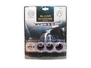 Sigarettenaansteker Splitter |triple usb socket in car |Usb autolader 3 port + extra usb aansluiting