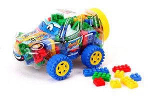 Auto box met speelgoed Bouwblokjes