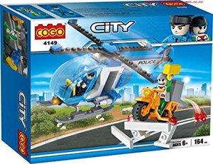 COGO 4149 Police City - Politiehelikopter + dief op scooter bouwset van 164stuks - Bouwblokken set