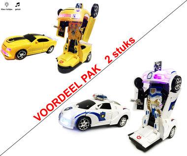 Robot Car 2 in 1 robot en auto transformeer speelgoed- 2stuks!  | Incl. Batterij