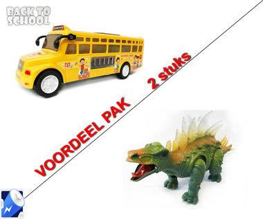 Speelgoed Schoolbus + Dinosaurus STEGOSAURUS met licht en geluid Voordeel pak 2 Stuks | Incl. Batterij