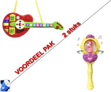 Glitter Flash Stick - Magische stok -fee toverstaf + Cartoon speelgoed gitaar Orgel | Incl. Batterij