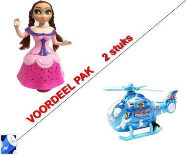 Snow Girl prinses pop |danst en zingt -blauw + Speelgoed helikopter met disco Led lichtjes en geluid | Incl. Batterij