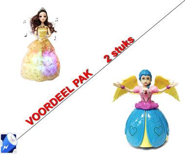 Little Princess Goud + Dancing Prinsesje Angel Girl met muziek en 3D-lichtjes  | incl. Batterij