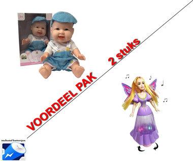 Mini Babypop met trendy outfit + Prinses Vlinder Fee pop (2pack)