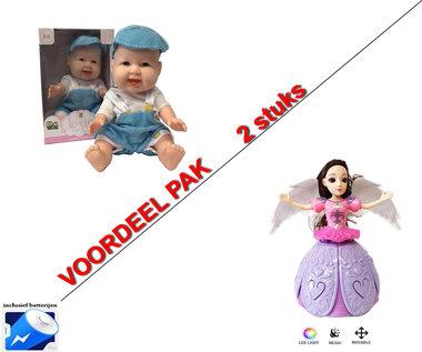 Dancing Angel Girl roze + Lovely Baby pop | incl. Batterij