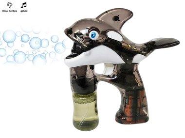 Bellenblaas pistool Dolfijn met lichtjes en muziek - Black Dolfin Bubble Gun