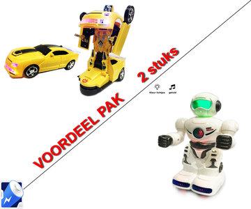 Speelgoed Robot met geluid en led lichtjes + Robot Car 2 in 1 robot en auto | incl. Batterij