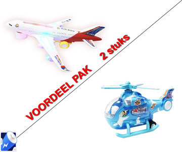 Airbus speelgoed vliegtuig + Speelgoed helikopter met disco Led lichtjes en geluid   incl. Batterij